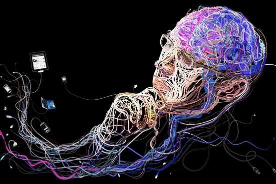 Hombre pensando hecho con cables